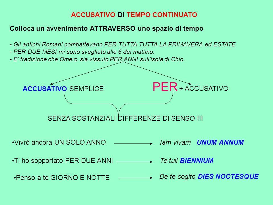 PER + ACCUSATIVO ACCUSATIVO DI TEMPO CONTINUATO