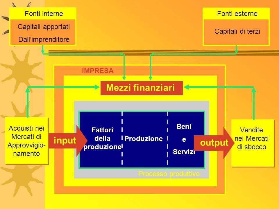 Mezzi finanziari input output