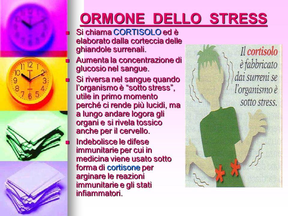 ORMONE DELLO STRESSSi chiama CORTISOLO ed è elaborato dalla corteccia delle ghiandole surrenali. Aumenta la concentrazione di glucosio nel sangue.