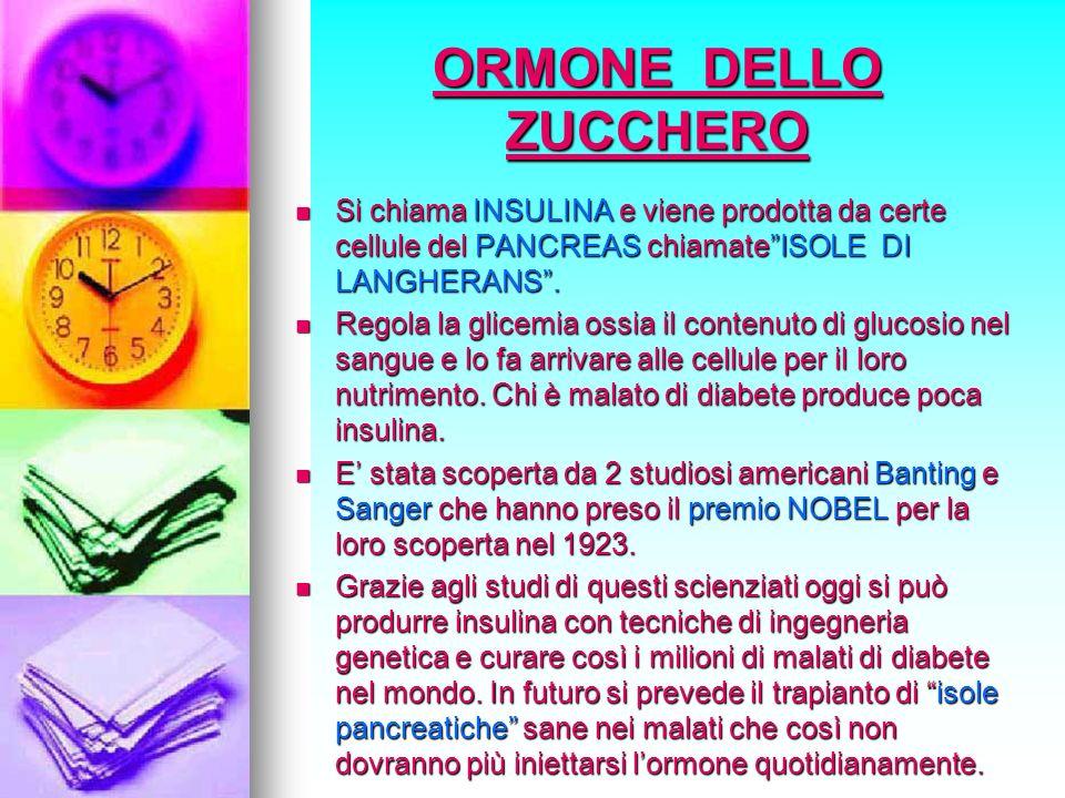 ORMONE DELLO ZUCCHERO Si chiama INSULINA e viene prodotta da certe cellule del PANCREAS chiamate ISOLE DI LANGHERANS .