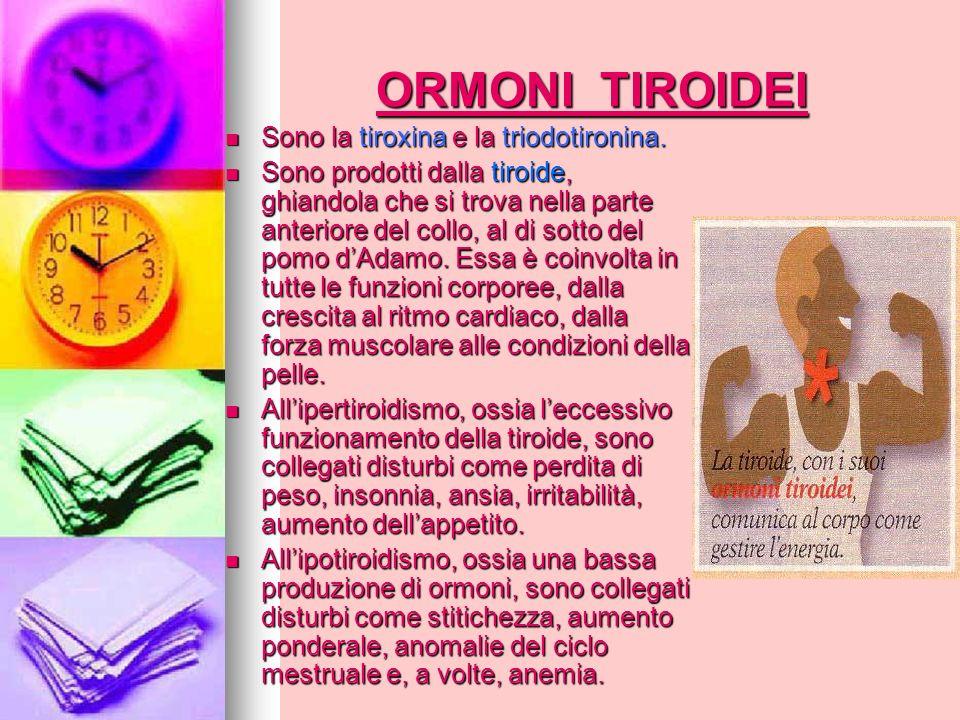 ORMONI TIROIDEI Sono la tiroxina e la triodotironina.