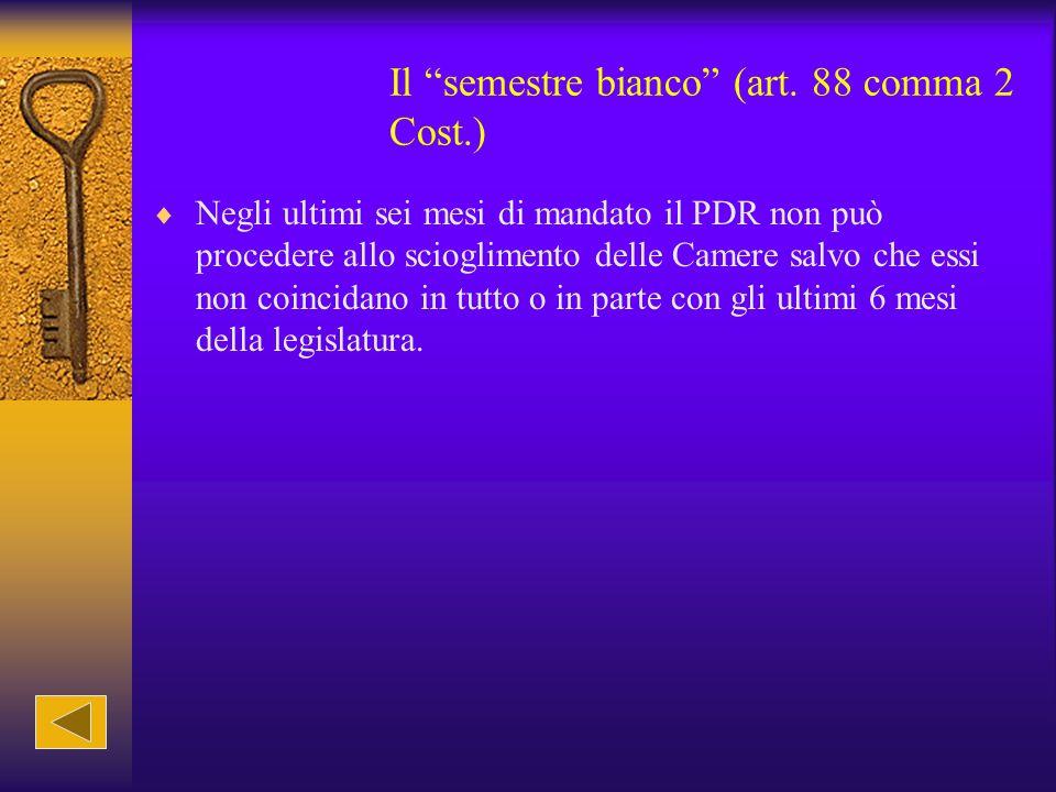 Il semestre bianco (art. 88 comma 2 Cost.)
