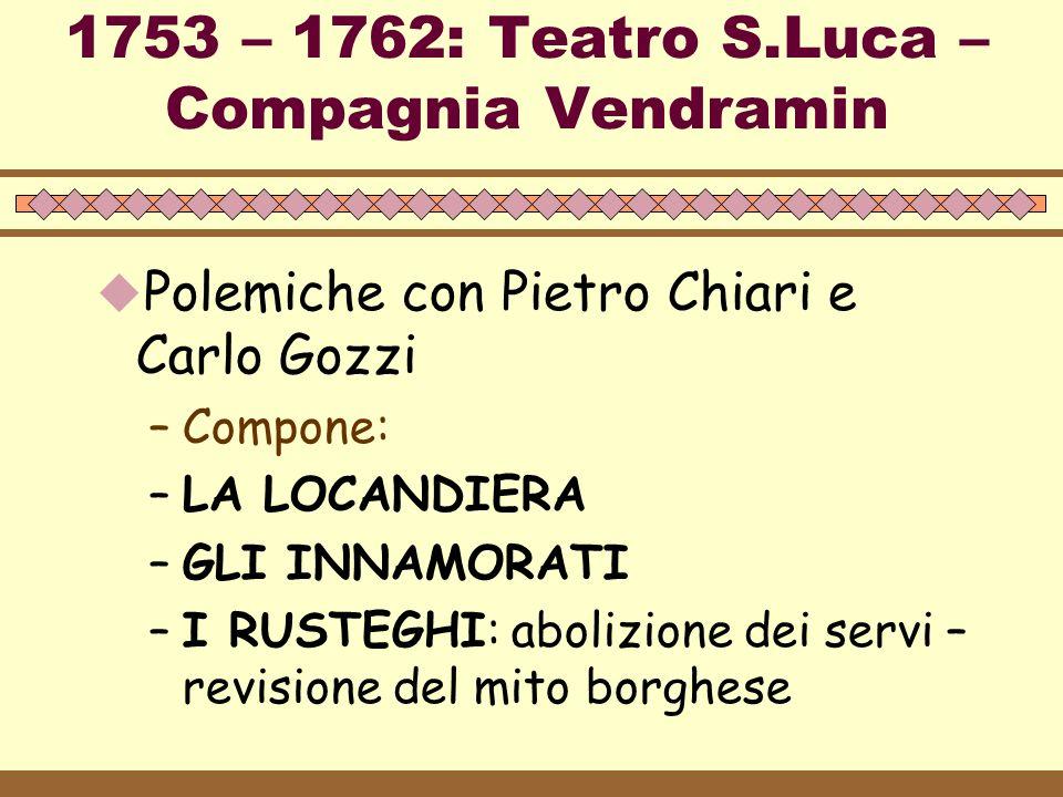 1753 – 1762: Teatro S.Luca – Compagnia Vendramin
