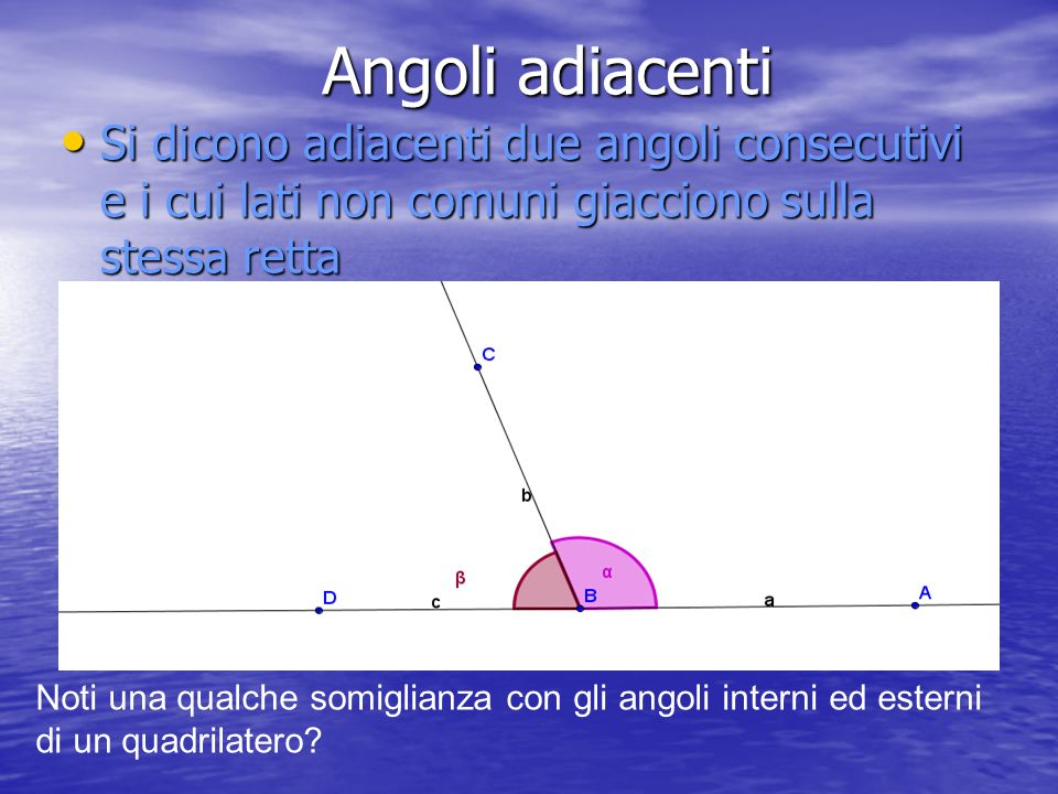 Angoli adiacenti Si dicono adiacenti due angoli consecutivi e i cui lati non comuni giacciono sulla stessa retta.