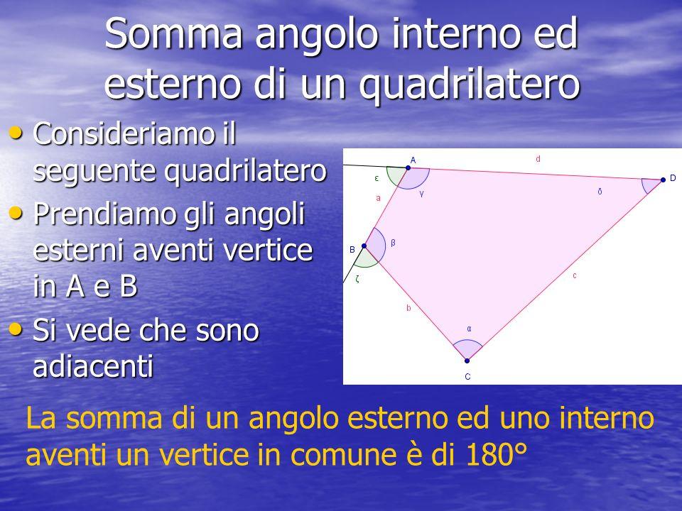 Somma angolo interno ed esterno di un quadrilatero