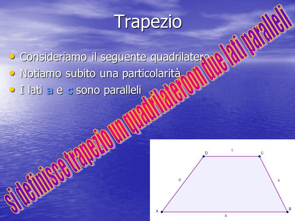 si definisce trapezio un quadrilateroon due lati paralleli