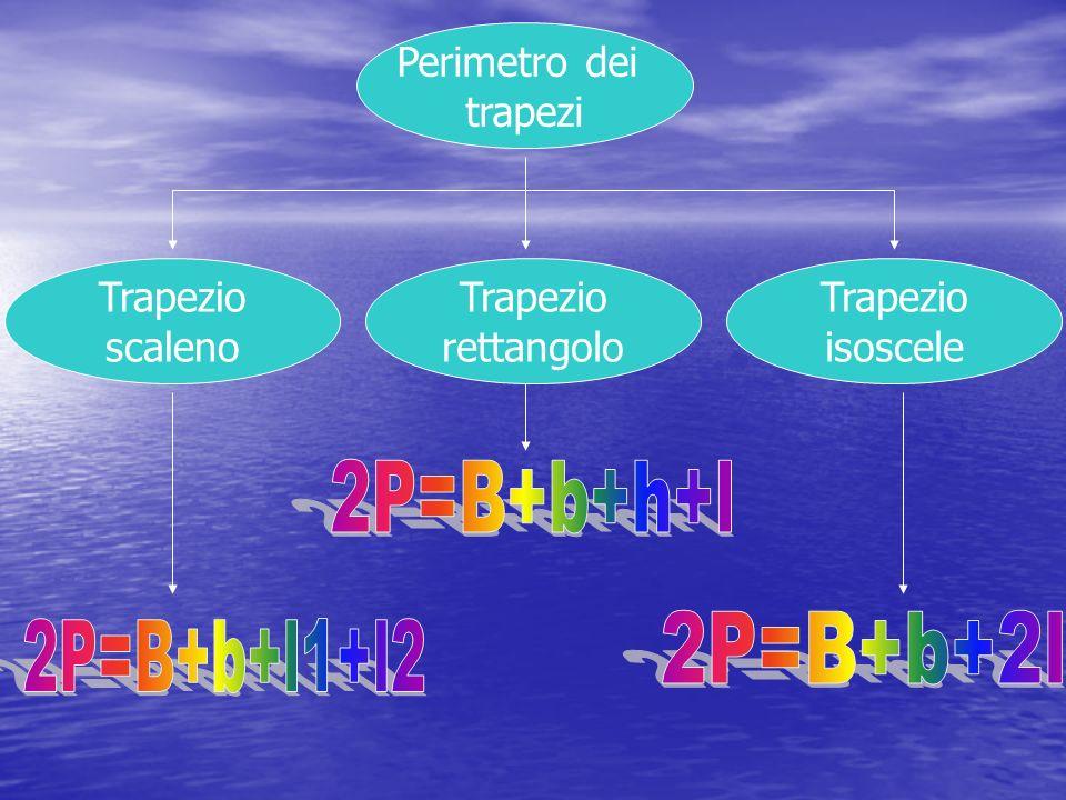 2P=B+b+h+l 2P=B+b+2l 2P=B+b+l1+l2 Perimetro dei trapezi Trapezio