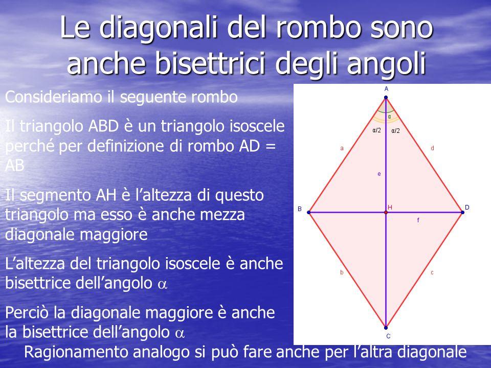 Le diagonali del rombo sono anche bisettrici degli angoli