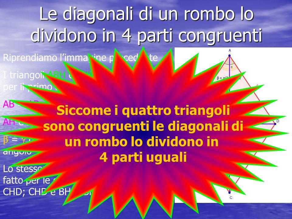 Le diagonali di un rombo lo dividono in 4 parti congruenti