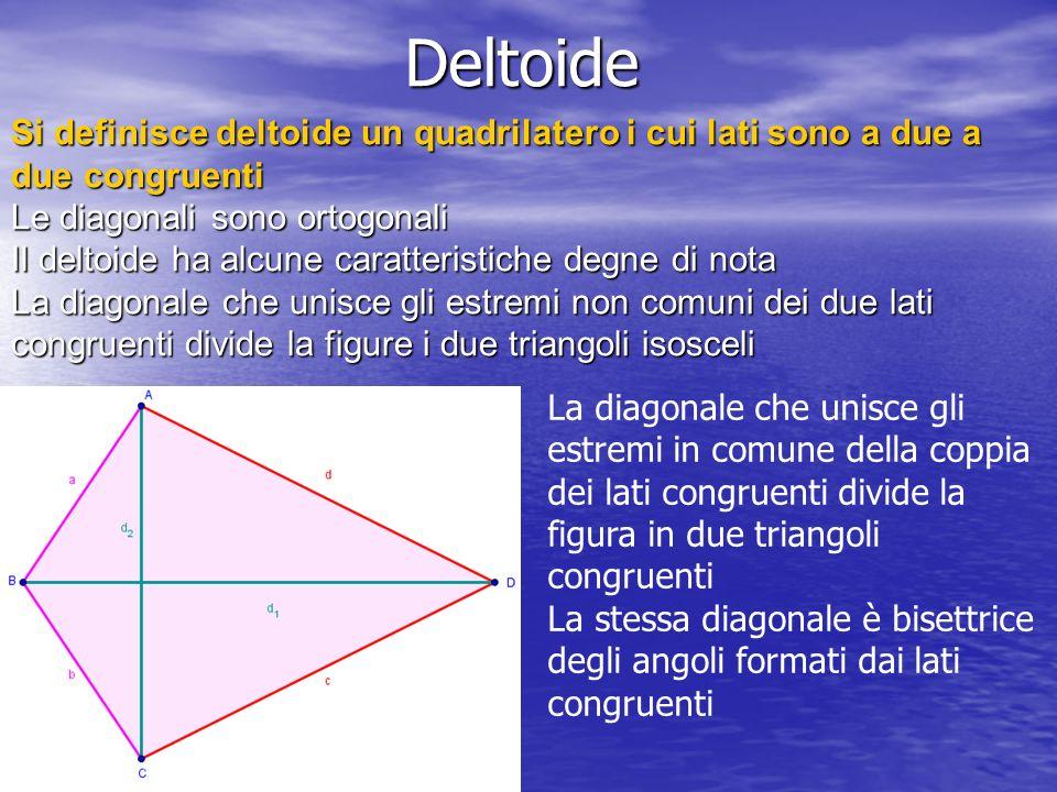 Deltoide Si definisce deltoide un quadrilatero i cui lati sono a due a due congruenti. Le diagonali sono ortogonali.