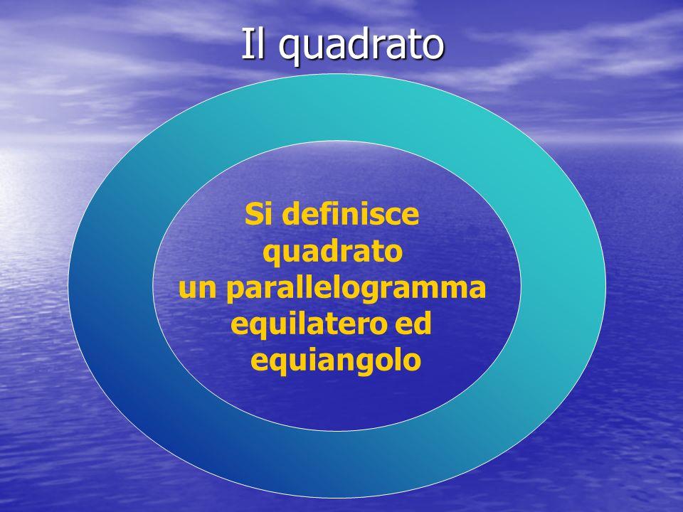 Il quadrato Si definisce quadrato un parallelogramma equilatero ed