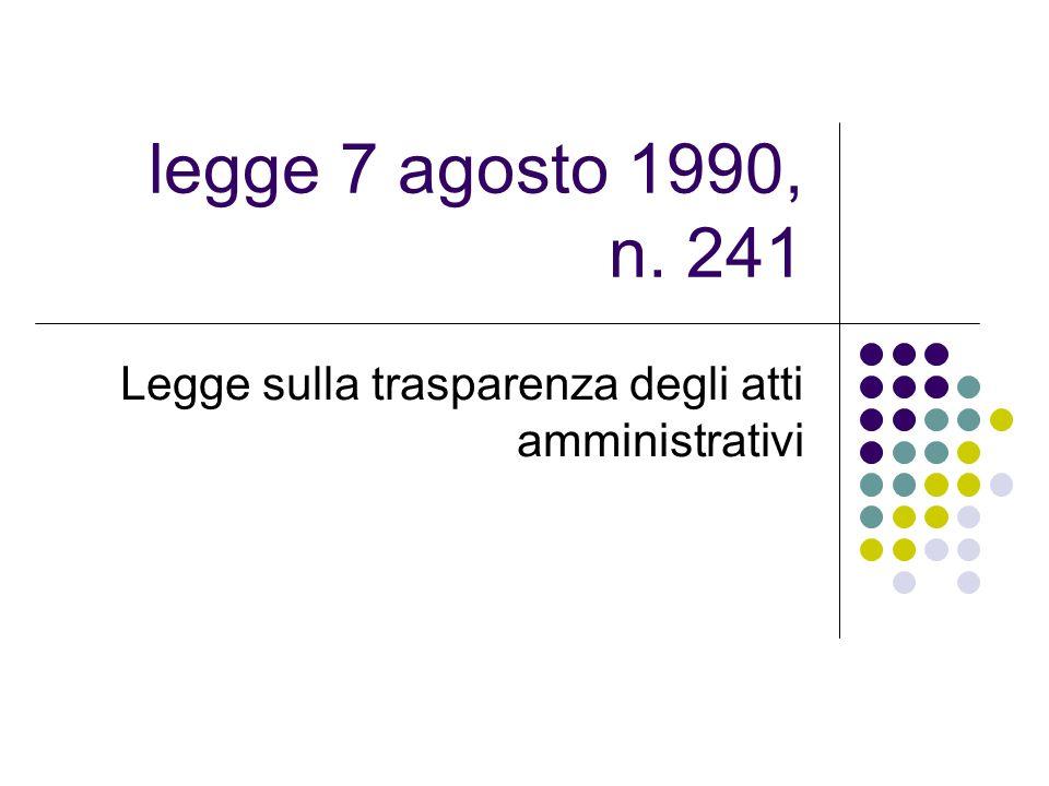 Legge sulla trasparenza degli atti amministrativi