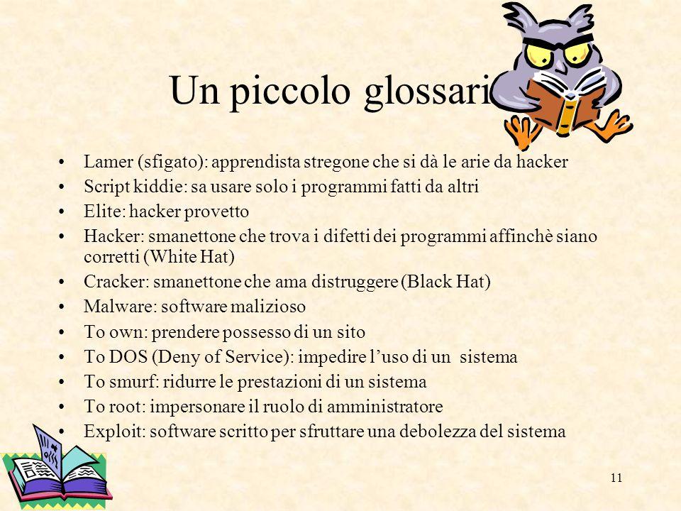Un piccolo glossario Lamer (sfigato): apprendista stregone che si dà le arie da hacker. Script kiddie: sa usare solo i programmi fatti da altri.