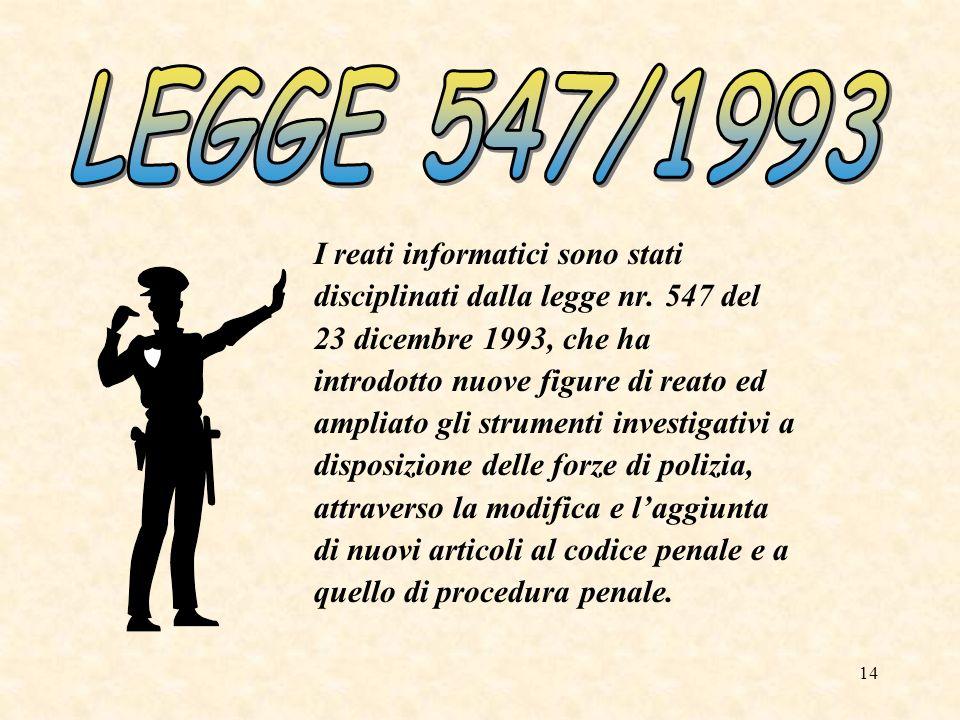 LEGGE 547/1993 I reati informatici sono stati