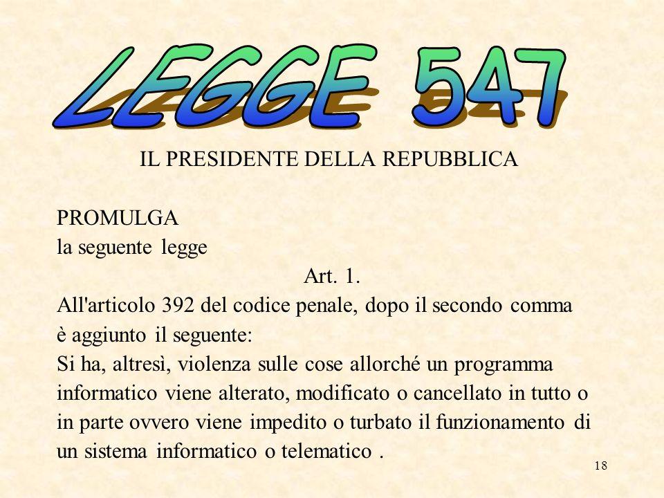 LEGGE 547 PROMULGA la seguente legge Art. 1.