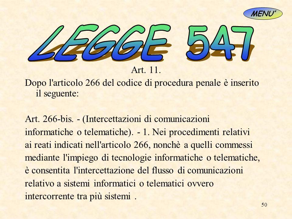 MENU'LEGGE 547. Art. 11. Dopo l articolo 266 del codice di procedura penale è inserito il seguente: