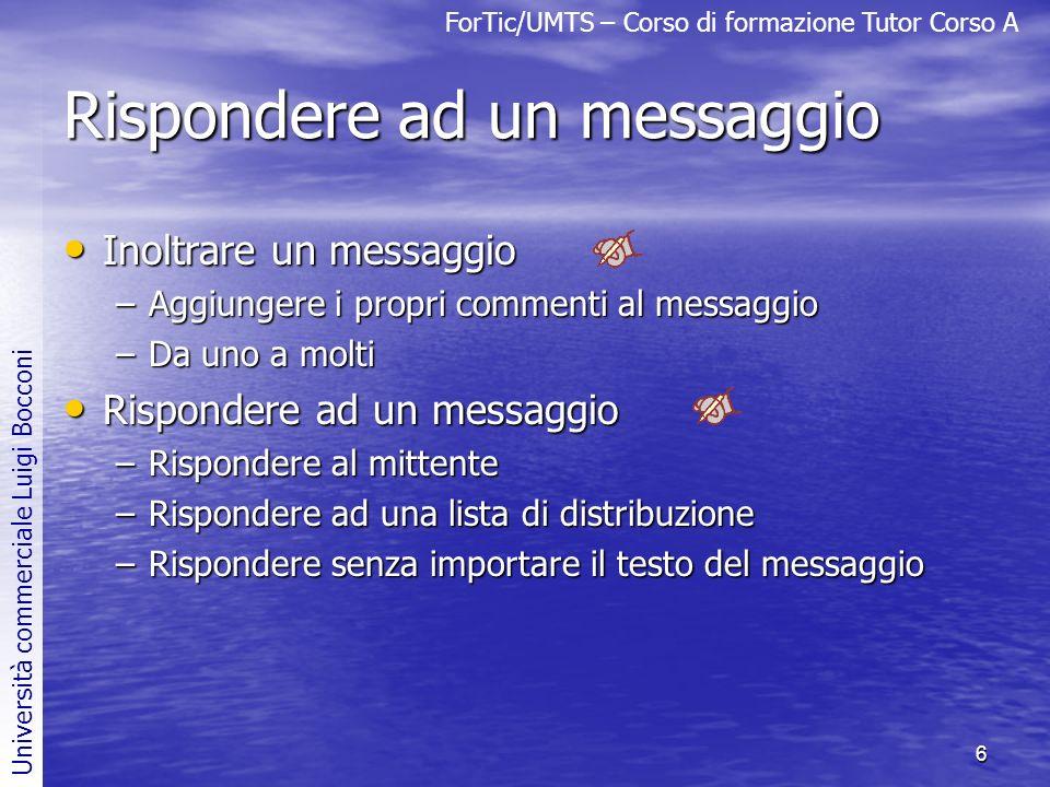 Rispondere ad un messaggio
