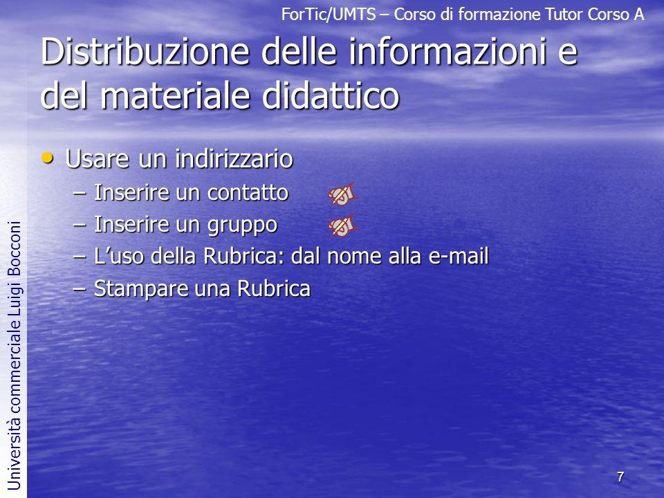 Distribuzione delle informazioni e del materiale didattico