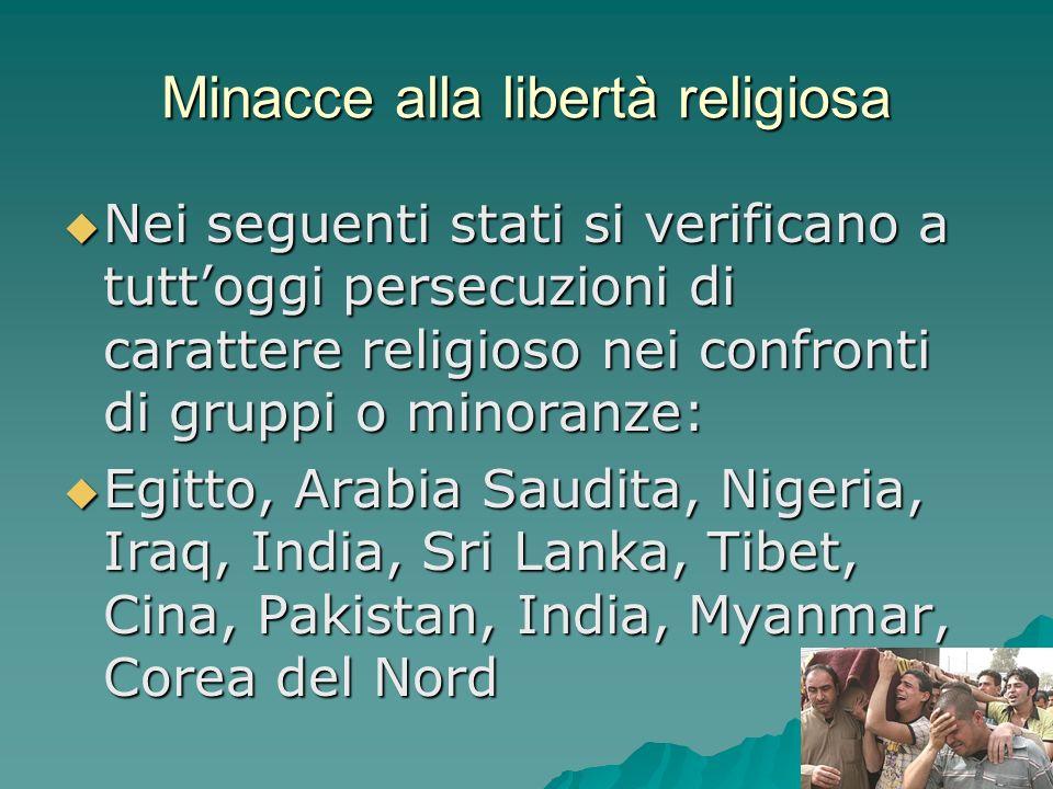 Minacce alla libertà religiosa