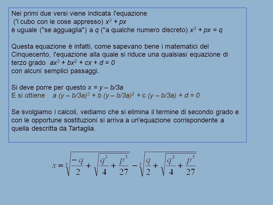 Nei primi due versi viene indicata l equazione