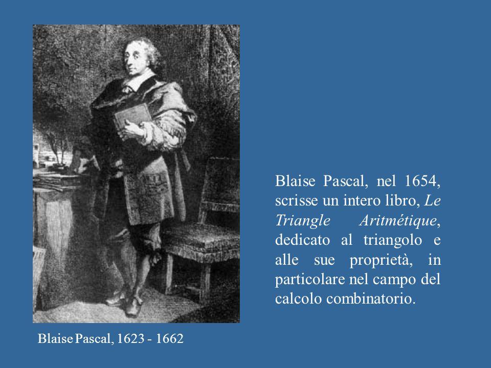 Blaise Pascal, nel 1654, scrisse un intero libro, Le Triangle Aritmétique, dedicato al triangolo e alle sue proprietà, in particolare nel campo del calcolo combinatorio.