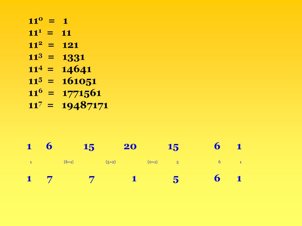 110 = 1 111 = 11 112 = 121 113 = 1331 114 = 14641 115 = 161051 116 = 1771561 117 = 19487171