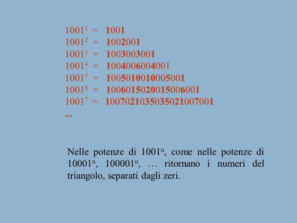 10011 = 1001 10012 = 1002001. 10013 = 1003003001. 10014 = 1004006004001. 10015 = 1005010010005001.