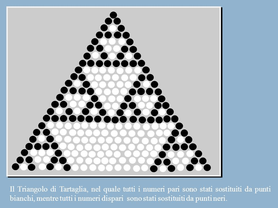 Il Triangolo di Tartaglia, nel quale tutti i numeri pari sono stati sostituiti da punti bianchi, mentre tutti i numeri dispari sono stati sostituiti da punti neri.