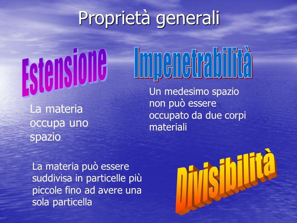 Proprietà generali Estensione Impenetrabilità Divisibilità
