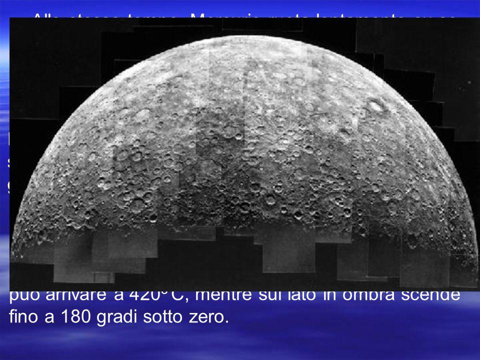 Allo stesso tempo, Mercurio ruota lentamente su se stesso: il giorno, cioè la durata di una rotazione, su Mercurio dura 59 volte più che sulla Terra.