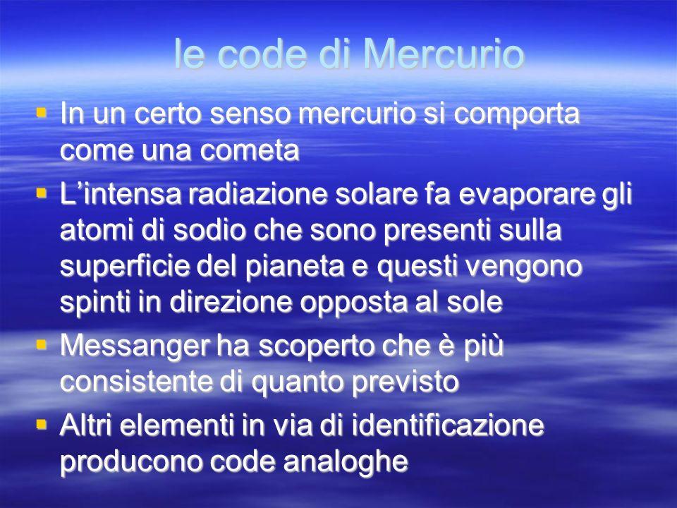 le code di Mercurio In un certo senso mercurio si comporta come una cometa.