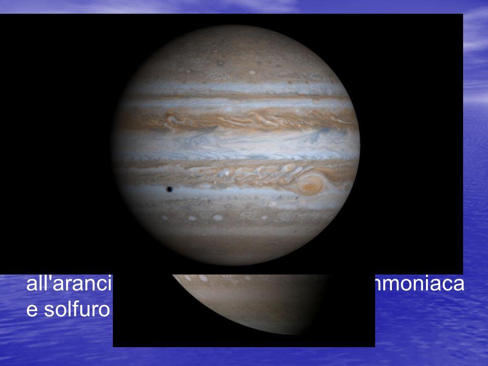 Quando li osserviamo noi vediamo solo lo strato di nubi più alte della loro atmosfera. Essa è composta per il 90% da idrogeno e per il 10% da elio (considerando il numero di atomi; se invece si considera la massa le percentuali sono 75% e 25%) con tracce di metano, vapore acqueo, neon e acido solfidrico.