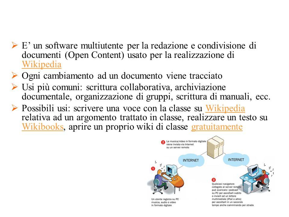 E' un software multiutente per la redazione e condivisione di documenti (Open Content) usato per la realizzazione di Wikipedia