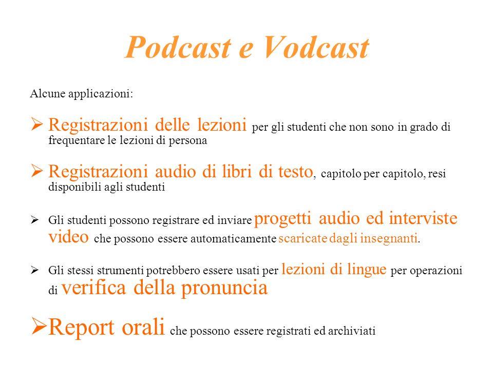 Podcast e Vodcast Alcune applicazioni: Registrazioni delle lezioni per gli studenti che non sono in grado di frequentare le lezioni di persona.
