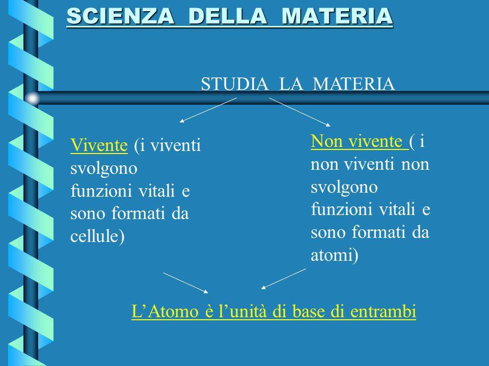 SCIENZA DELLA MATERIA STUDIA LA MATERIA. Non vivente ( i non viventi non svolgono funzioni vitali e sono formati da atomi)