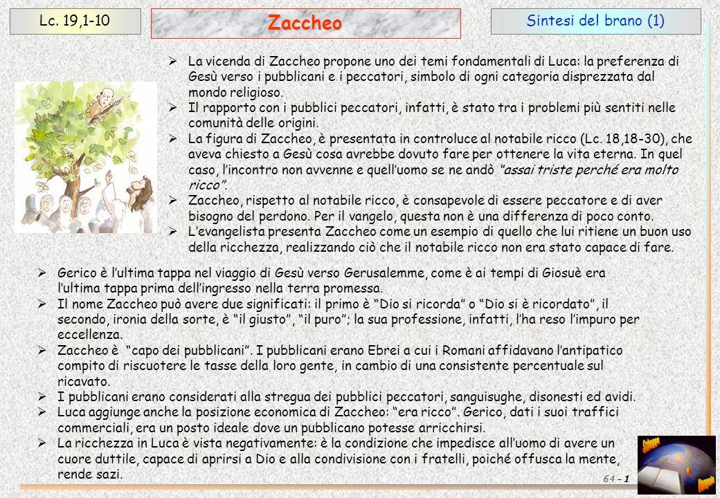 Zaccheo Lc. 19,1-10 Sintesi del brano (1)