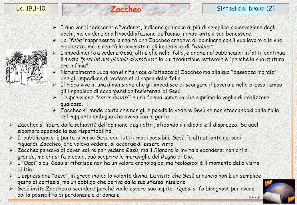 Zaccheo Lc. 19,1-10 Sintesi del brano (2)