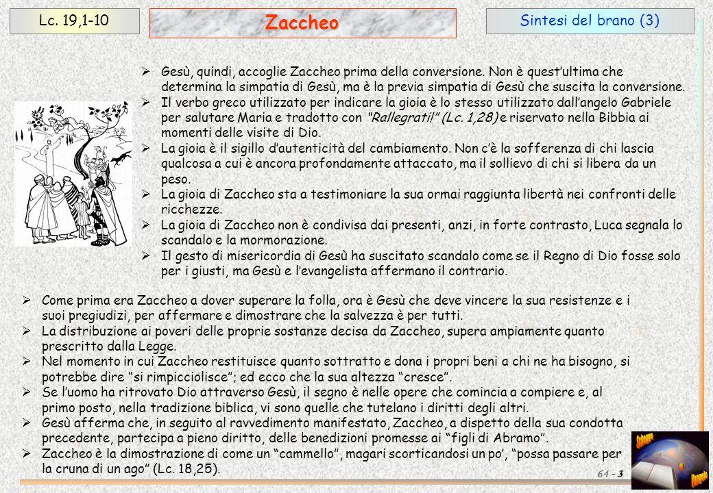 Zaccheo Lc. 19,1-10 Sintesi del brano (3)