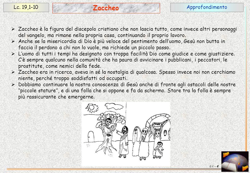 Zaccheo Lc. 19,1-10 Approfondimento
