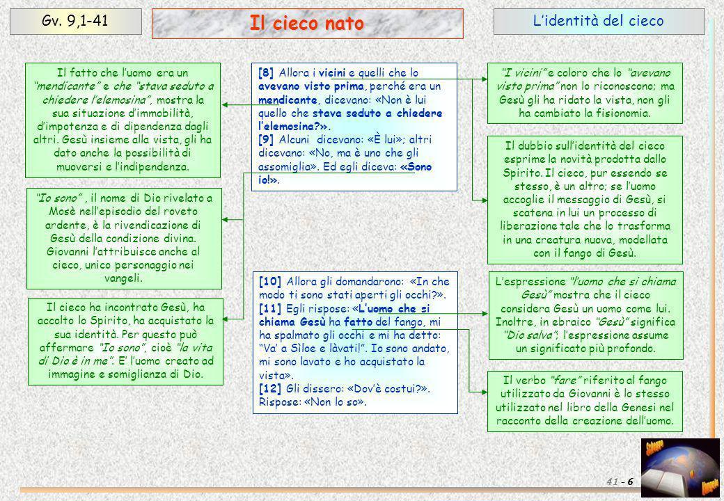 Il cieco nato Gv. 9,1-41 L'identità del cieco 41 - 6