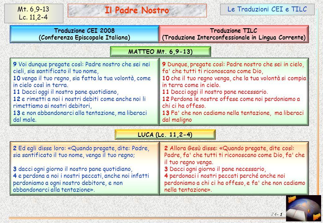 Il Padre Nostro Mt. 6,9-13 Lc. 11,2-4 Le Traduzioni CEI e TILC