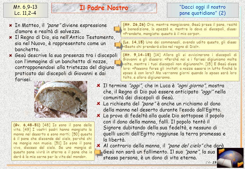 Il Padre Nostro Mt. 6,9-13 Lc. 11,2-4 Dacci oggi il nostro