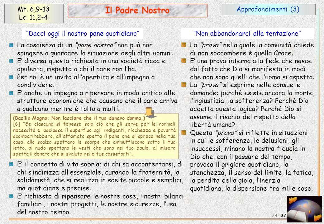 Il Padre Nostro Mt. 6,9-13 Lc. 11,2-4 Approfondimenti (3)