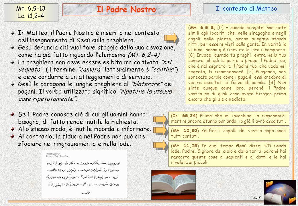 Il Padre Nostro Mt. 6,9-13 Lc. 11,2-4 Il contesto di Matteo