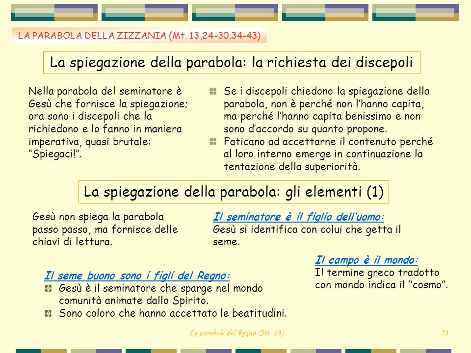 La spiegazione della parabola: la richiesta dei discepoli