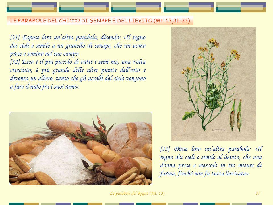 LE PARABOLE DEL CHICCO DI SENAPE E DEL LIEVITO (Mt. 13,31-33)