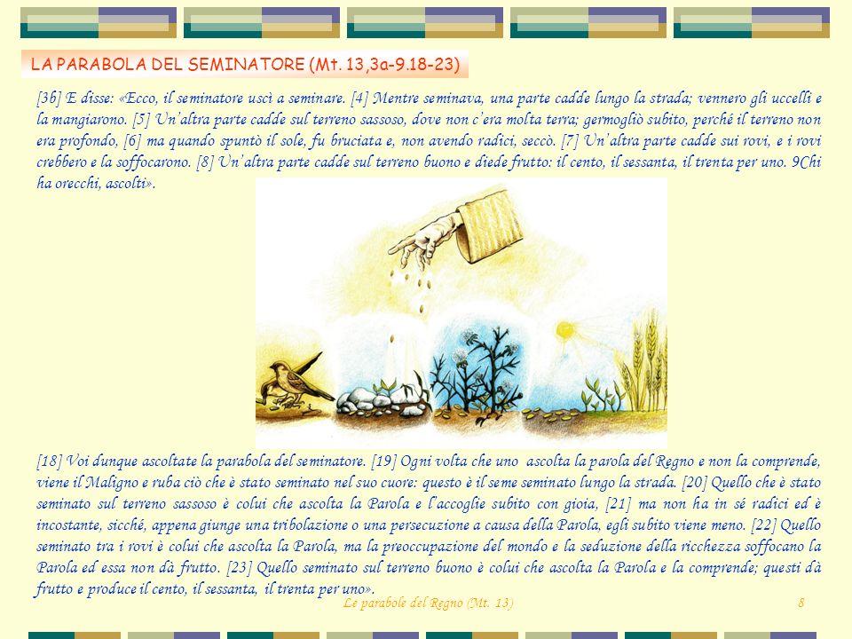 LA PARABOLA DEL SEMINATORE (Mt. 13,3a-9.18-23)
