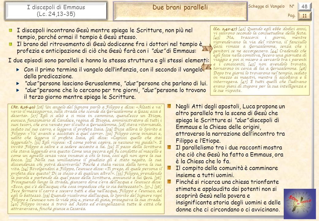 Due brani paralleli I discepoli di Emmaus (Lc. 24,13-35)