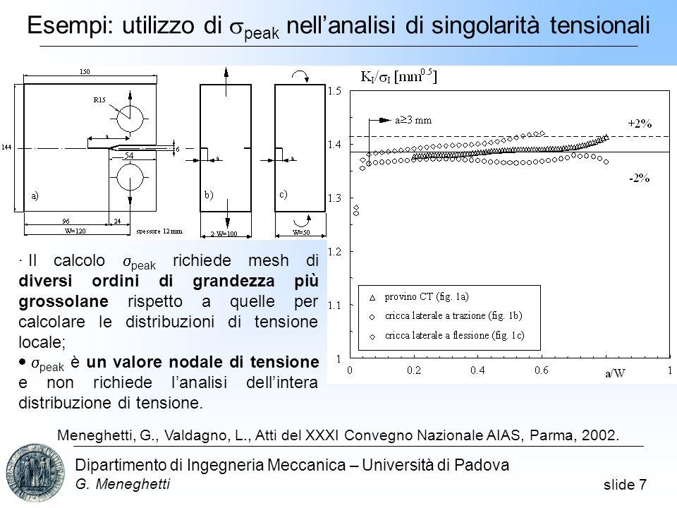 Esempi: utilizzo di speak nell'analisi di singolarità tensionali