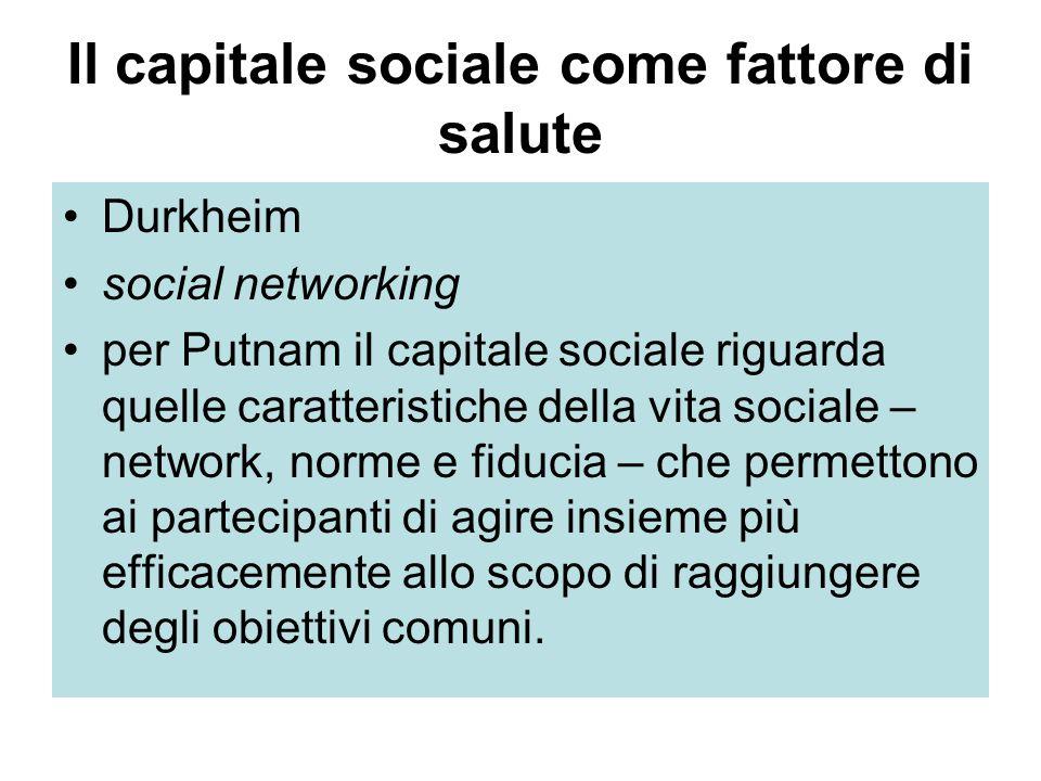Il capitale sociale come fattore di salute